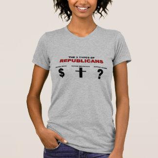 Tres tipos de camiseta de los republicanos