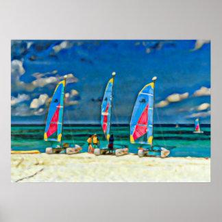 Tres veleros en la playa, escena de la playa póster