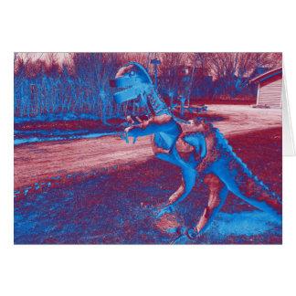 trex del dinosaurio del metal en parque tarjeta de felicitación