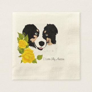 Tri Aussie negro y rosas amarillos Servilletas Desechables