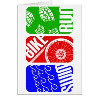 TRI bloques del color del Triathlon Tarjeta De Felicitación