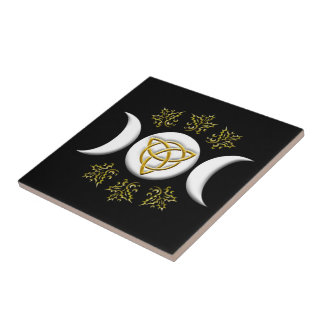 Tri Luna y Tri-Quatra, con el acebo - teja/Trivet Azulejo Cuadrado Pequeño