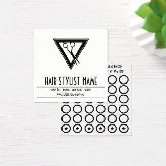 tri tarjeta del sello de las tijeras del estilista
