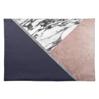 Triángulo color de rosa de mármol de los azules salvamanteles