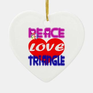 Triángulo de amor de la paz adorno de navidad