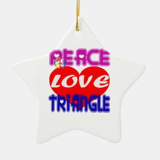 Triángulo de amor de la paz adorno de cerámica en forma de estrella