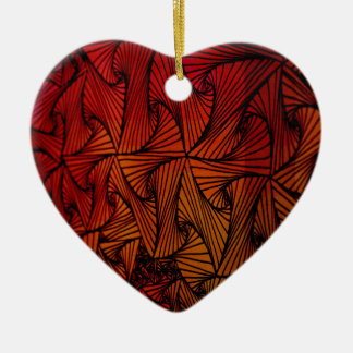 Triángulo loco adorno de cerámica en forma de corazón