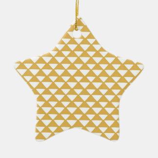 Triángulos amarillos y blancos adorno de cerámica en forma de estrella