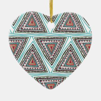 Triángulos aztecas ornamento para arbol de navidad