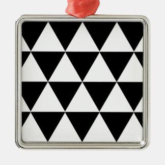 Triángulos blancos adorno cuadrado plateado