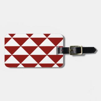 Triángulos carmesís y blancos etiquetas para maletas