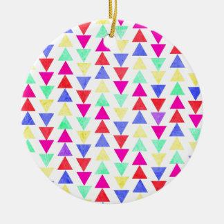 triángulos coloreados adorno redondo de cerámica