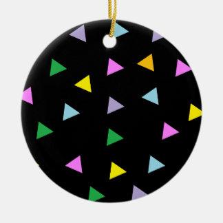 Triángulos coloridos adorno redondo de cerámica