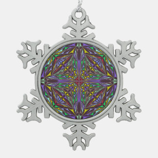 Triángulos del caleidoscopio adorno de peltre en forma de copo de nieve