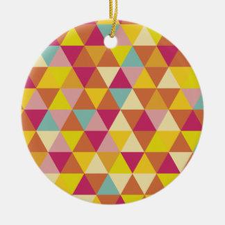 Triángulos del multicolor del polígono en forma adorno redondo de cerámica