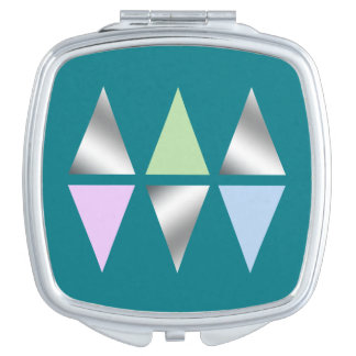 triángulos/diamons de plata claros elegantes espejo compacto