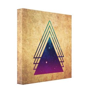Triángulos frescos del espacio en fondo del Grunge Impresion De Lienzo