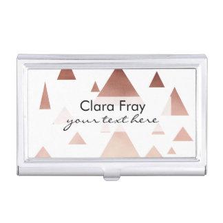 triángulos geométricos color de rosa elegantes de cajas de tarjetas de visita