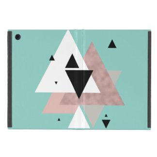 triángulos geométricos de la menta color de rosa funda para iPad mini