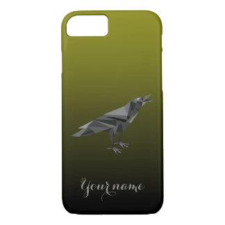 Triángulos grises geométricos del cuervo funda iPhone 7
