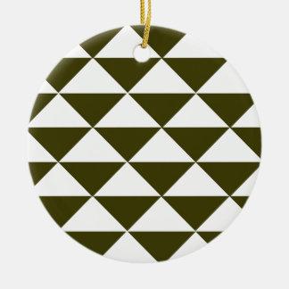 Triángulos imperecederos y blancos adorno redondo de cerámica