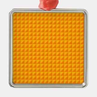 Triángulos - naranja y ámbar adorno cuadrado plateado
