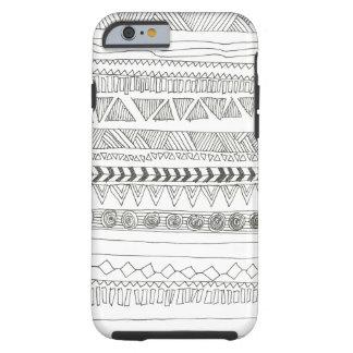 Tribal azteca blanco y negro funda de iPhone 6 tough
