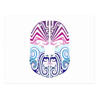 tribal cara face tarjeta postal