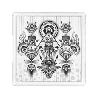 Tribal indio nativo antiguo abstracto bandeja acrílica