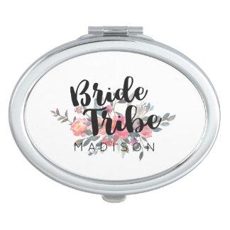 Tribu floral de la novia del boda de la acuarela espejo maquillaje