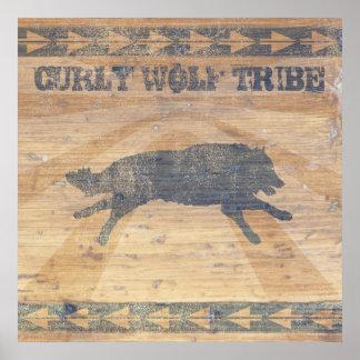 Tribu rizada del lobo póster