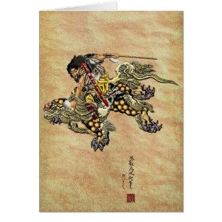 Tributo a Hokusai - Shoki que montan el león de Tarjeta