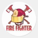 Tributo del bombero pegatina redonda