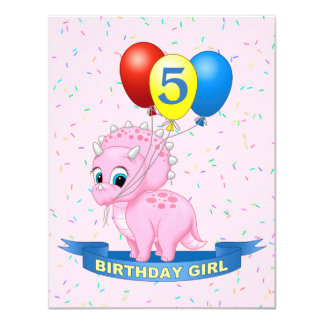 Triceratops lindo Dino del bebé del rosa del chica Invitación 10,8 X 13,9 Cm
