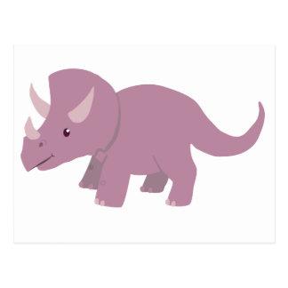 Triceratops púrpura lindo (Torosaurus del bebé) Postal