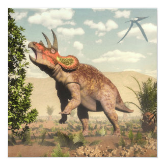 Triceratops que come en el árbol de la magnolia - invitación 13,3 cm x 13,3cm