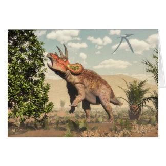 Triceratops que come en el árbol de la magnolia - tarjeta