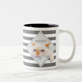 Trident el café rayado Mug_01 del gato Taza De Café De Dos Colores