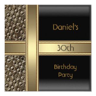 Trigésima fiesta de cumpleaños del bronce negro invitación 13,3 cm x 13,3cm