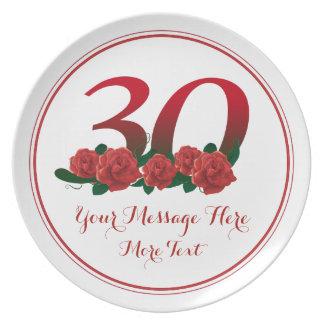 Trigésima placa del aniversario 30 del cumpleaños platos
