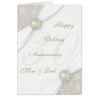 Trigésima tarjeta de felicitación del aniversario