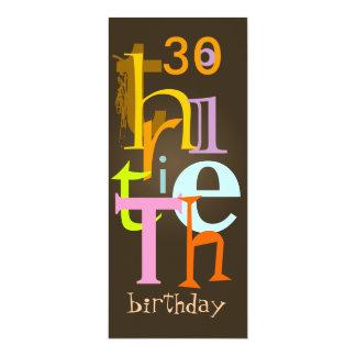 Trigésimas invitaciones de la fiesta de cumpleaños invitación 10,1 x 23,5 cm