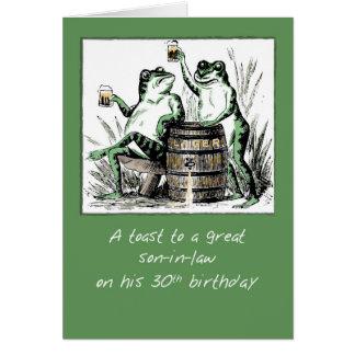 Trigésimas ranas del cumpleaños del yerno que tarjeta de felicitación