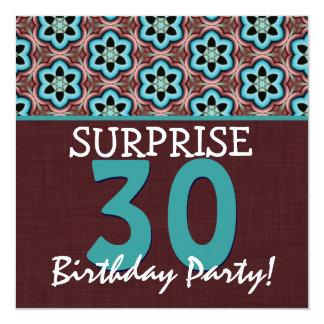 trigésimo Aguamarina y chocolate V2 del cumpleaños Invitación 13,3 Cm X 13,3cm