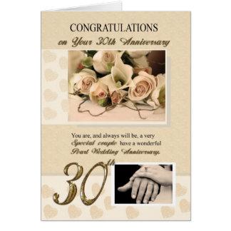 trigésimo Aniversario de boda de la perla Tarjeta De Felicitación