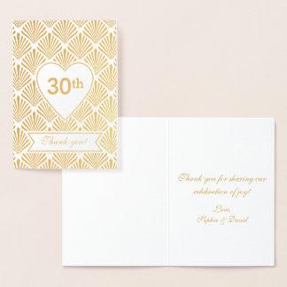 Trigésimo aniversario del oro del gran art déco tarjeta con relieve metalizado