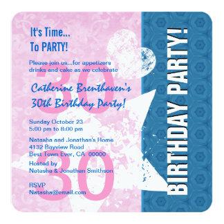 trigésimo B330A rosado del cumpleaños y azul Invitación 13,3 Cm X 13,3cm