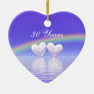 trigésimo Corazones de la perla del aniversario Adorno De Cerámica En Forma De Corazón