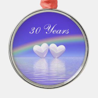 trigésimo Corazones de la perla del aniversario Adorno Redondo Plateado