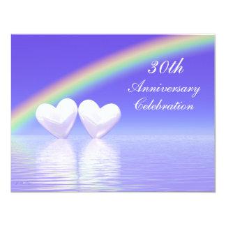 trigésimo Corazones de la perla del aniversario Invitación 10,8 X 13,9 Cm